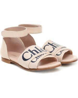 Skórzany sandały włókienniczy żółty Chloé Kids