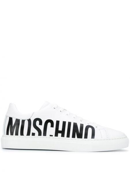 Ażurowy skórzany czarny sneakersy zasznurować Moschino