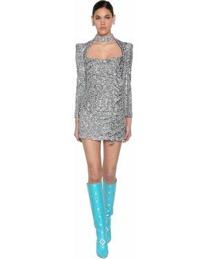 Платье мини с пайетками на пуговицах Giuseppe Di Morabito