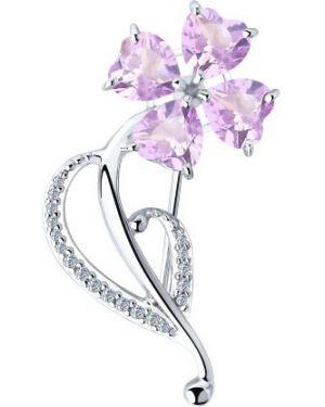 Серебряная брошь с камнями фиолетовый Sokolov