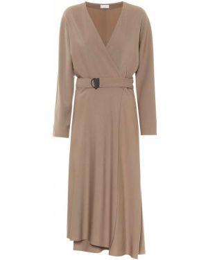 Коричневое шерстяное платье миди с поясом Brunello Cucinelli