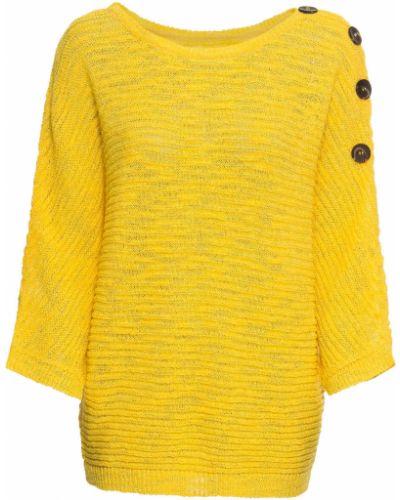 Пуловер на пуговицах - желтый Bonprix