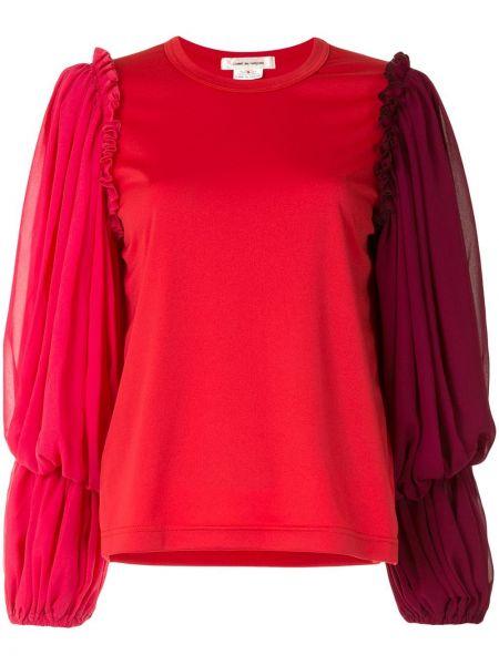 С рукавами красная прямая блузка с вырезом Comme Des Garçons