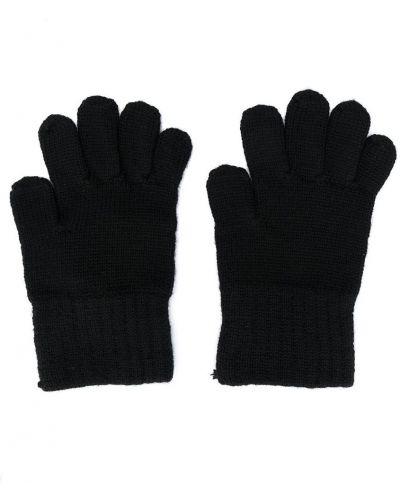 Шерстяные вязаные черные перчатки Dolce & Gabbana Kids