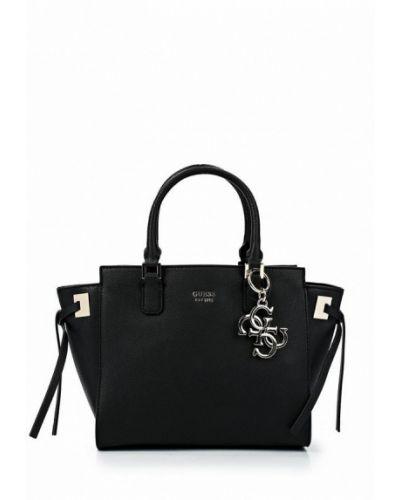Кожаная сумка через плечо черная Guess