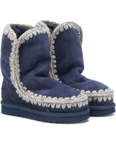 Синие зимние ботинки из овчины без застежки Mou Kids