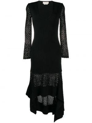 Приталенное с рукавами черное платье миди Alexander Mcqueen