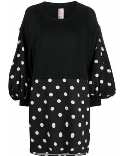 Czarna sukienka długa w grochy z długimi rękawami Antonio Marras
