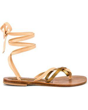 Żółte sandały skorzane na co dzień Cornetti