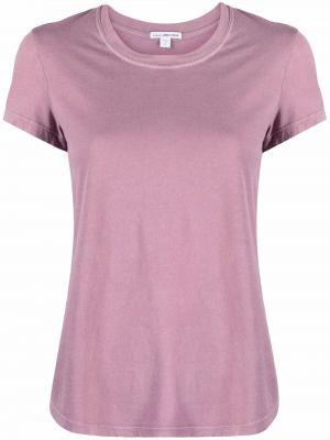Трикотажная розовая прямая футболка с короткими рукавами James Perse
