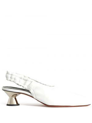 Кожаные белые туфли-лодочки квадратные Proenza Schouler