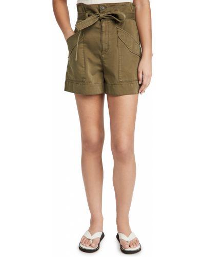 Зеленые хлопковые шорты карго с карманами Rag & Bone