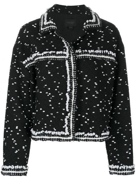 Черный удлиненный пиджак твидовый на пуговицах Giambattista Valli
