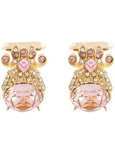 Золотистые запонки золотые с камнями Dolce & Gabbana