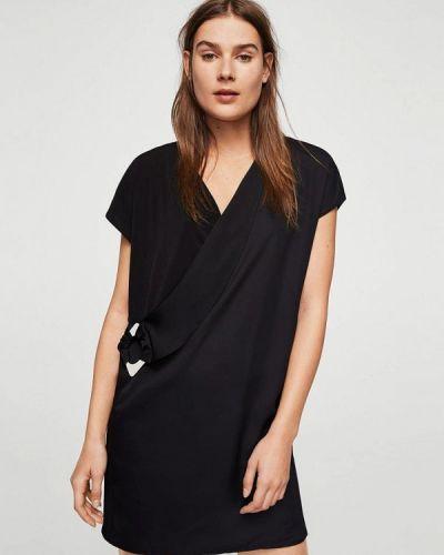 Черное платье с запахом Mango