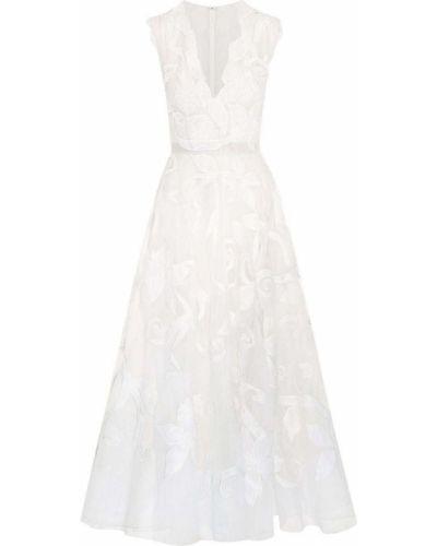 Шелковое платье - белое Oscar De La Renta