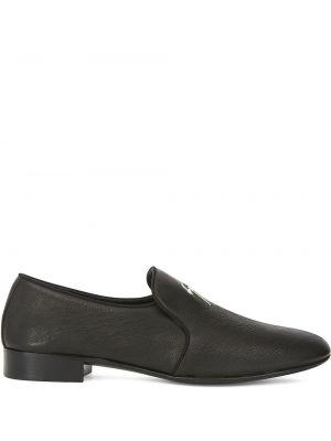 Черные кожаные лоферы на каблуке Giuseppe Zanotti