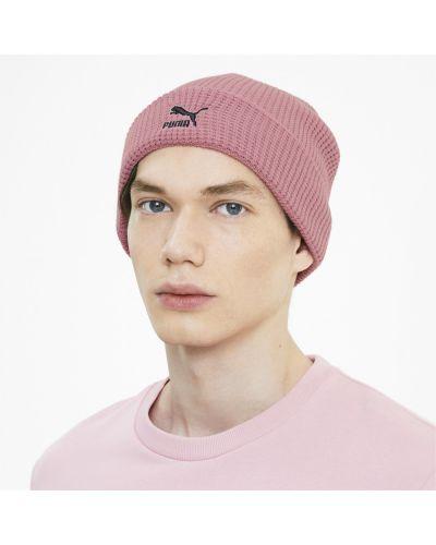 Облегающая сатиновая розовая шапка бини с вышивкой Puma