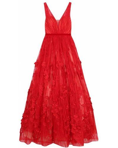 Вечернее платье с цветочным принтом с V-образным вырезом солнце Basix Black Label