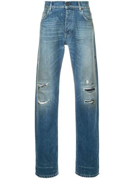 Niebieskie jeansy bawełniane z paskiem Kent & Curwen