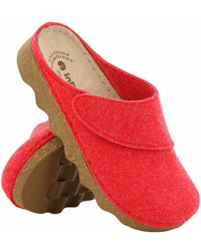 Czerwone klapki skorzane Inblu