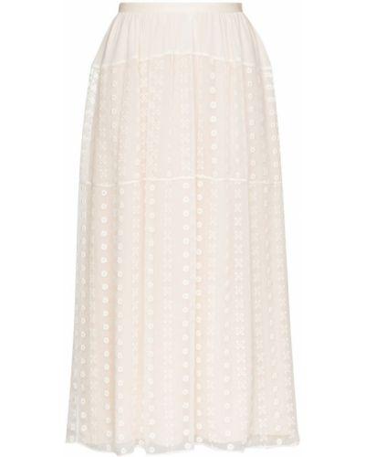 Кружевная белая с завышенной талией юбка миди Chloé