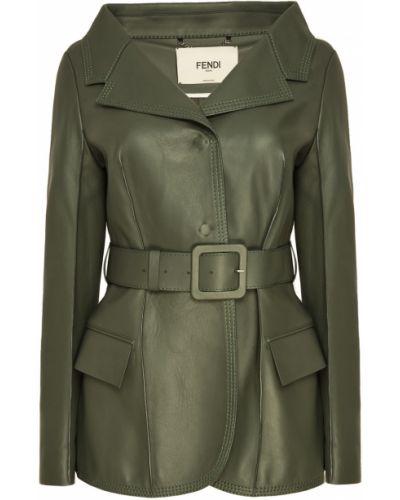 Кожаная куртка зеленая с карманами Fendi