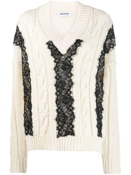 Biały sweter z akrylu koronkowy Brognano