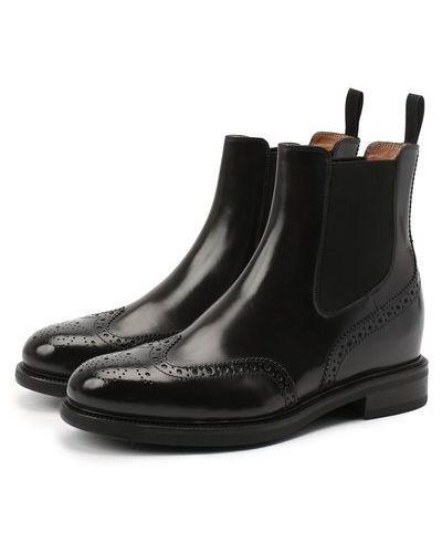 Черные кожаные ботинки челси с подкладкой Santoni