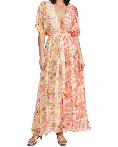 Шифоновое желтое платье макси с поясом Rococo Sand