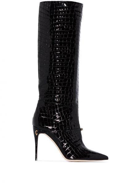 Черные сапоги на высоком каблуке на каблуке из крокодила с тиснением Jennifer Chamandi