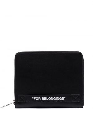 Czarna torebka skórzana z printem Off-white