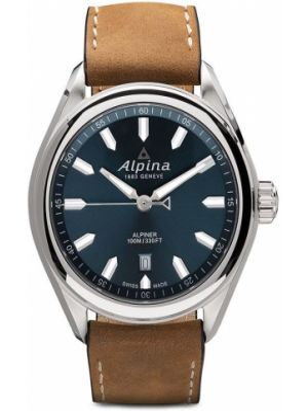 Синие кожаные часы с кожаным ремешком круглые Alpina