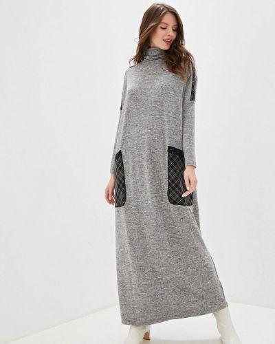 Платье серое прямое Adzhedo