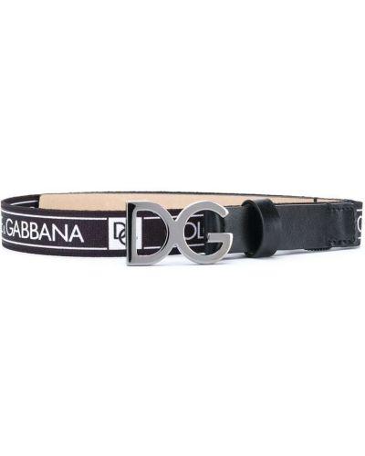 Черный кожаный ремень с перфорацией Dolce & Gabbana Kids
