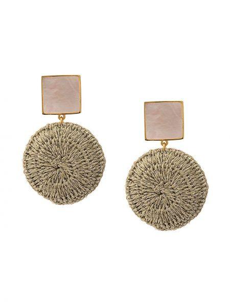 Золотистые желтые серьги позолоченные с бабочкой Lizzie Fortunato Jewels