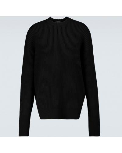 Wełniany klasyczny czarny sweter przeoczenie Balenciaga