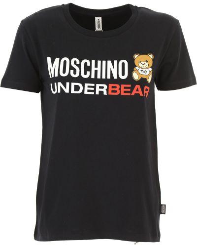 Z rękawami czarny t-shirt okrągły z kołnierzem Moschino