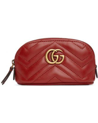 Czarny torebka na łańcuszku prążkowany z łatami z prawdziwej skóry Gucci