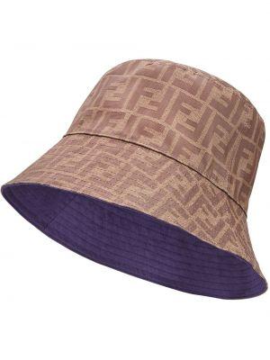 Niebieski kapelusz bawełniany z printem Fendi