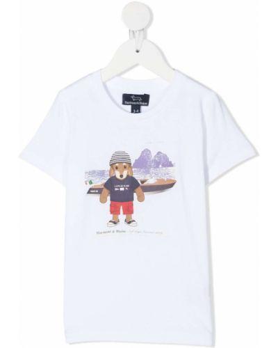 Прямая хлопковая белая футболка с короткими рукавами Harmont & Blaine Junior