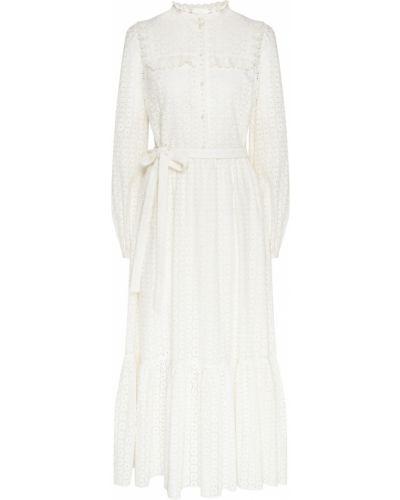 Ажурное белое платье миди с оборками ли-лу