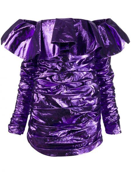 Fioletowa sukienka mini z długimi rękawami bawełniana Attico