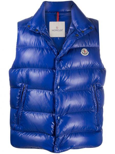 Puchaty niebieski kurtka bez rękawów z kieszeniami Moncler