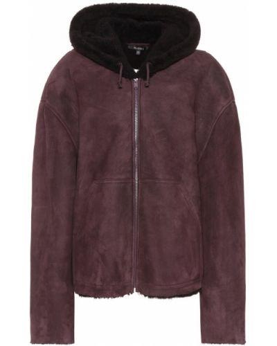 Кожаное пальто замшевое малиновый Yeezy