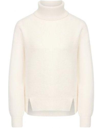 Шерстяной белый свитер с разрезом Giorgio Armani