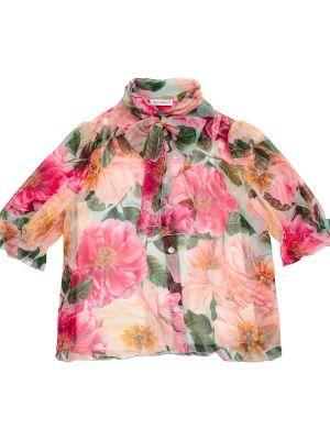 Różowa koszula z jedwabiu Dolce & Gabbana Kids