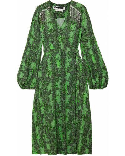 Zielona sukienka midi kopertowa z frędzlami Rotate Birger Christensen