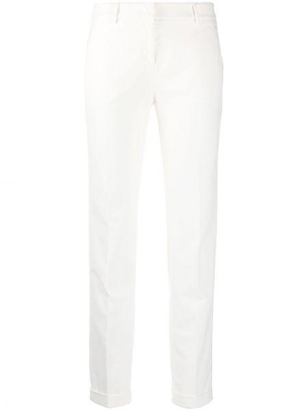 Белые зауженные укороченные брюки с карманами Incotex