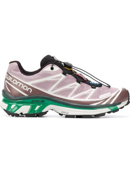 Розовые кроссовки с заплатками на шнуровке круглые Salomon S/lab